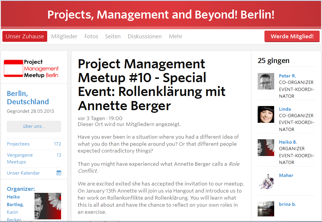Project Management Meetup #10 Rollenklärung Annette Berger