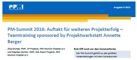 Projektwerkstatt Sponsor Teamtraining PM-Summit 2016